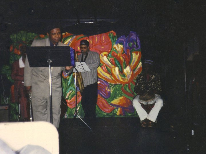 Robert J. Carmack in Tam playing Flute and spoken word  local musicians  Aladeen on Tenor,Fred ward on Dejembe drum, and Kent Brinkley on bass