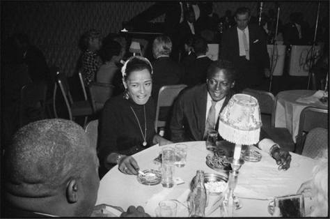Miles Davis & Billie with Jimmy Rushing seated