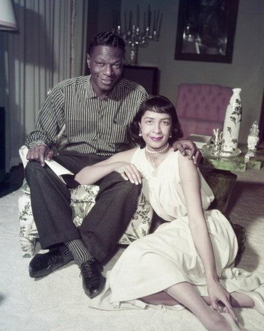 NAT KING COLE -- Pictured: (l-r) Singers Nat 'King' Cole, Maria Cole at home in 1957 -- (Photo by: Frank Carroll/NBC/NBCU Photo Bank via Getty Images)