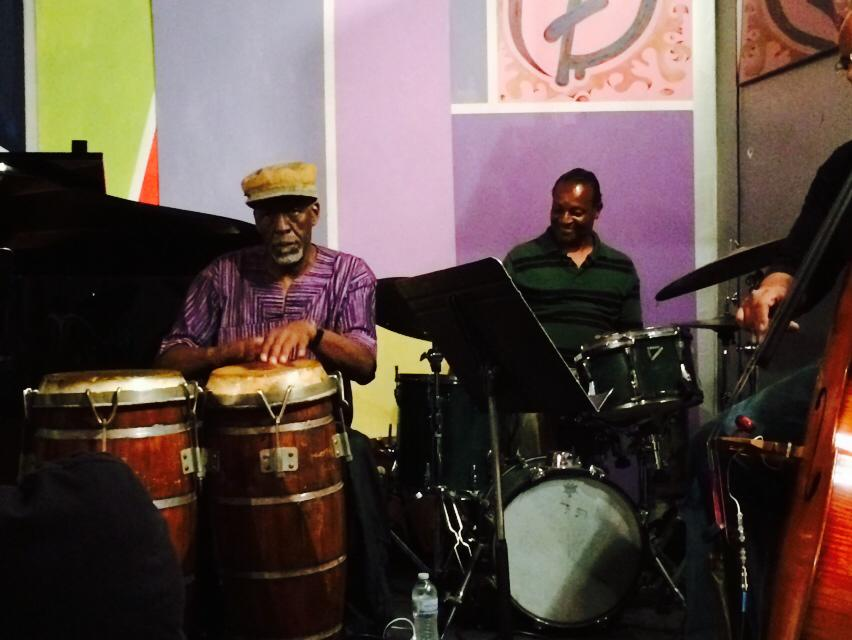 Derf Reklaw congos,bongo & flute , Ishmael Hunter drums