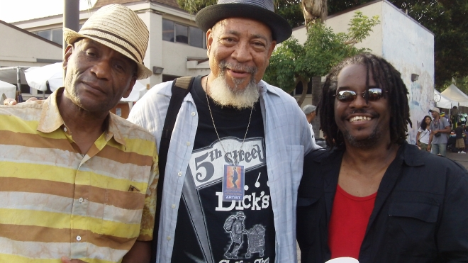 Jazz drummer Fritz Wise, Poet/Jazz griot Kamau Daood with Music journalist Robert J. Carmack
